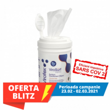 Virofex-Virosurf  tub gol+refill 250 bucati servetele dezinfectante  de nivel inalt