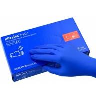 Manusi nitril fara pudra Nitrylex marime  S,M,L  (cutie 100 buc) - culori : albastru