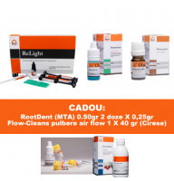 PACHET PROMO RESTAURATIV 3: ReLight Kit 4 seringi compozit nano+Travlin - BONUS stand Tehnodent + GlassyCem - Varnish (lac protector) + GlassyCem - Dentin conditioner