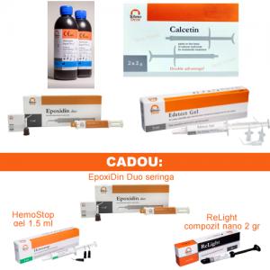 PACHET PROMO ENDO 3: EpoxiDin Duo seringa + Lichid Antiseptic 5,2% sau 3% 300 ml + Edtale gel 20% + Calcetin endo 2x2gr