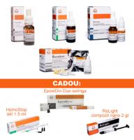 PACHET PROMO MIXT 4: CresoTin (analog Rockle's) + RootDent (MTA) + HemoStop lichid 15ml + Ftor-Lux Kit - fluorizarea profunda a smaltului si dentinei