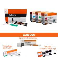 PACHET PROMO RESTAURATIV 2: ReLight Kit 4 seringi compozit nano+Travlin - BONUS stand Tehnodent + GlassyCem Kid (colorat) - glasionomer de restaurare pentru copii
