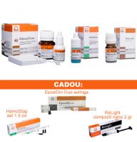 PACHET PROMO RESTAURATIV 4: GlassyCem A2 - glasionomer pentru Restaurare (analog Fuji IX ) + GlassyCem - Varnish (lac protector) + GlassyCem - Dentin conditioner