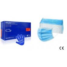 PACHET protectie : Manusi nitril cutie 200 buc marime XS/S + Masca de protectie din netesut  (cutie 50 masti)