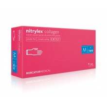 Manusi nitril cu COLAGEN Nitrylex culoare magenta marime S