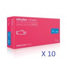 Manusi nitril cu colagen Nitrylex culoare magenta -bax 10